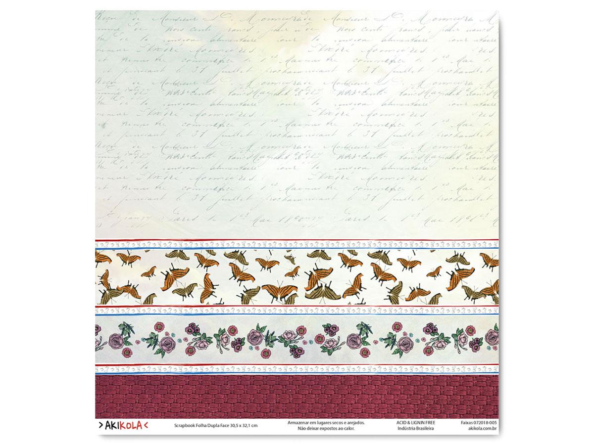 Folha para SCRAPBOOK 30,5X32,1 - Modelo FAIXAS 005