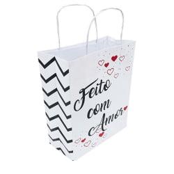 Sacola Branca - Feito Com Amor - Ref01 - 18x8x26